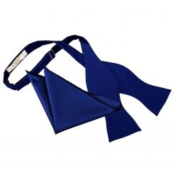 Royal Blue Solid Check Self-Tie Bow Tie & Pocket Square Set