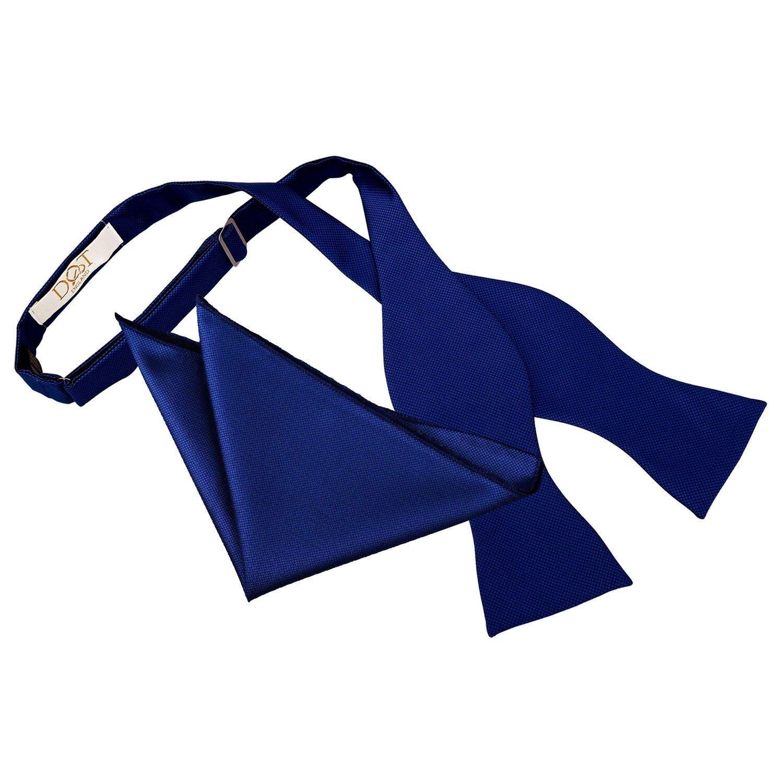 DQT Satin Plain Solid Royal Blue Classic Slim Skinny Tie Hanky Cufflinks