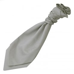 Silver Solid Check Pre-Tied Wedding Cravat for Boys