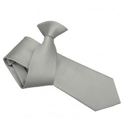 Silver Solid Check Clip On Slim Tie