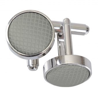Silver Solid Check Cufflinks