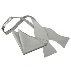 Silver Solid Check Self-Tie Bow Tie & Pocket Square Set