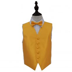 Sunflower Gold Solid Check Wedding Waistcoat & Bow Tie Set for Boys
