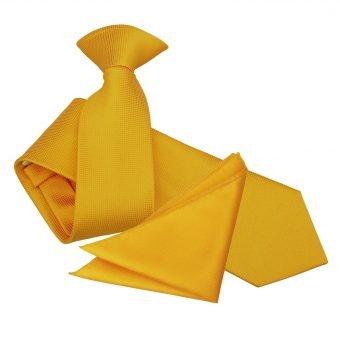 Sunflower Gold Solid Check Clip On Slim Tie & Pocket Square Set