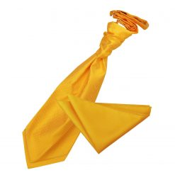 Sunflower Gold Solid Check Wedding Cravat & Pocket Square Set