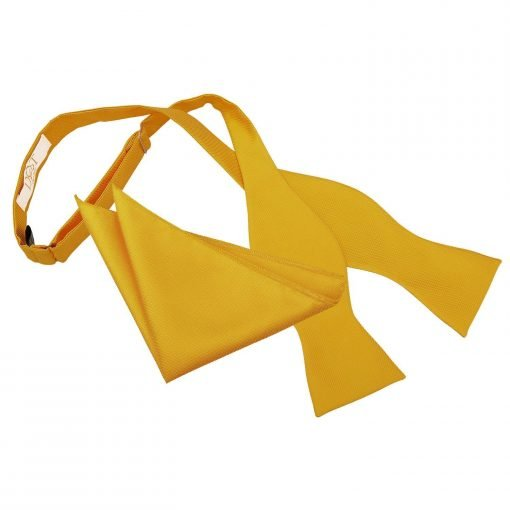 Sunflower Gold Solid Check Self-Tie Bow Tie & Pocket Square Set