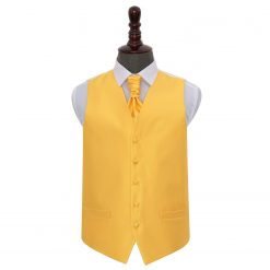 Sunflower Gold Solid Check Wedding Waistcoat & Cravat Set