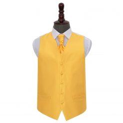Sunflower Gold Solid Check Wedding Waistcoat & Cravat Set