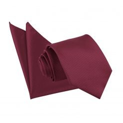 Burgundy Solid Check Tie & Pocket Square Set