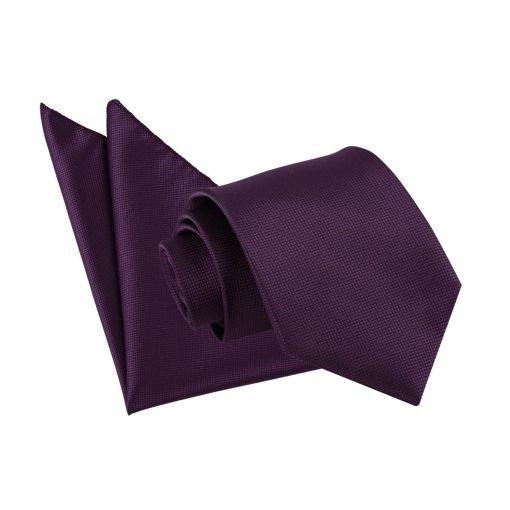 Cadbury Purple Solid Check Tie & Pocket Square Set