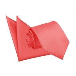 Coral Solid Check Tie & Pocket Square Set