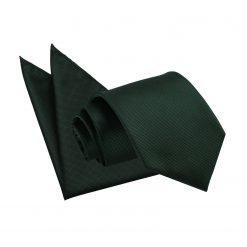 Dark Green Solid Check Tie & Pocket Square Set