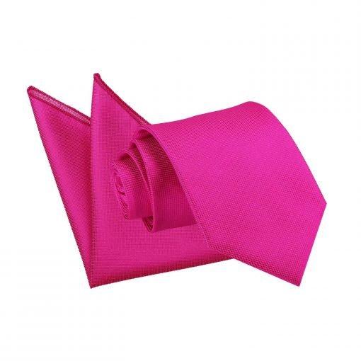 Fuchsia Pink Solid Check Tie & Pocket Square Set