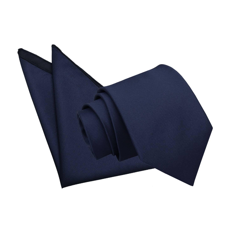 61b9f558597a0 Navy Blue Solid Check Tie   Pocket Square Set