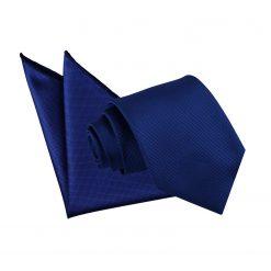 Royal Blue Solid Check Tie & Pocket Square Set