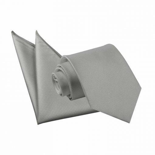 Silver Solid Check Tie & Pocket Square Set
