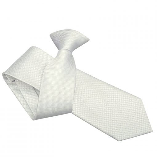 White Solid Check Clip On Slim Tie