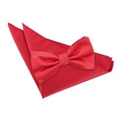 Red Solid Check Bow Tie & Pocket Square Set