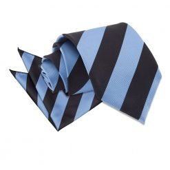 Baby Blue & Black Striped Tie & Pocket Square Set