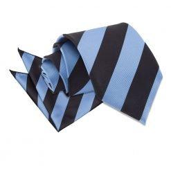 Baby Blue & Black Striped Tie & Pocket Square Set