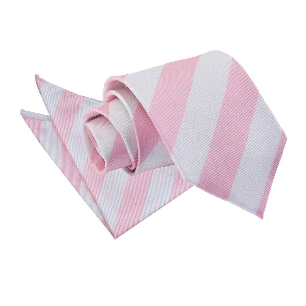 Men S Striped Baby Pink Amp White Tie 2 Pc Set