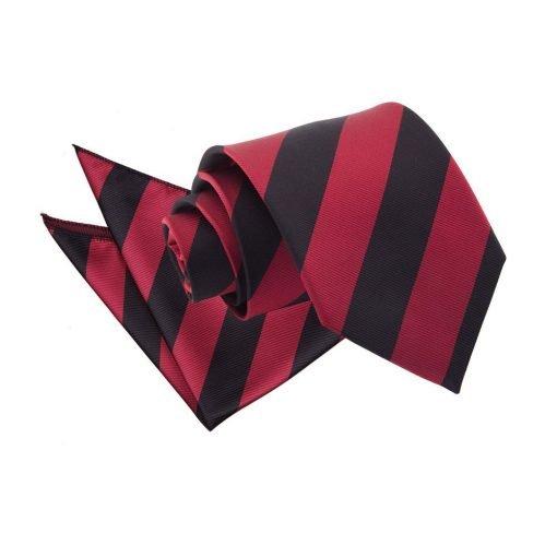 Burgundy & Black Striped Tie & Pocket Square Set