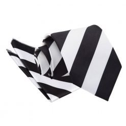 Black & White Striped Tie & Pocket Square Set