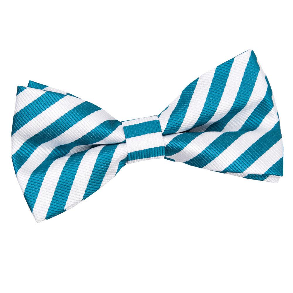Thin Stripe White & Teal PreTied Bow Tie