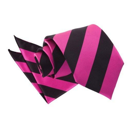 Hot Pink & Black Striped Tie & Pocket Square Set