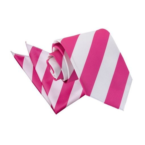Hot Pink & White Striped Tie & Pocket Square Set