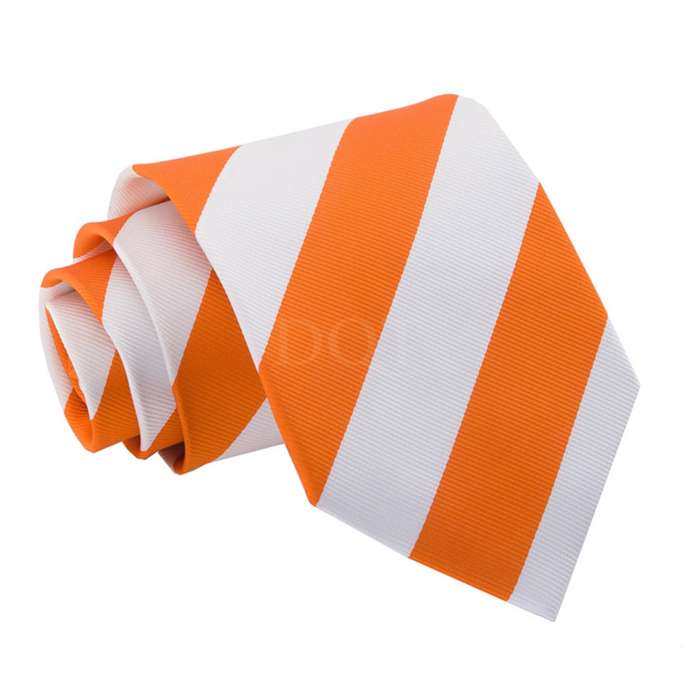 New Dqt Striped Men 39 S Tie Orange White Ebay