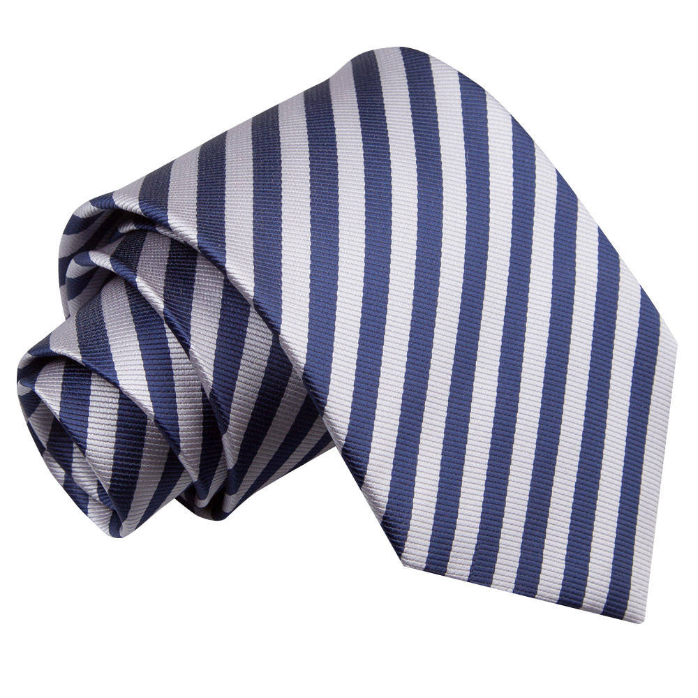 Men's Thin Stripe Navy Blue & Silver Tie