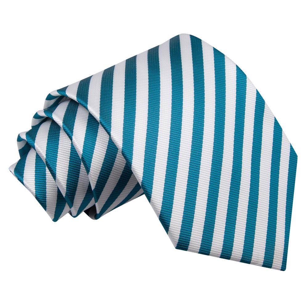 Thin Stripe White & Teal Tie
