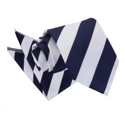 Navy & White Striped Tie & Pocket Square Set