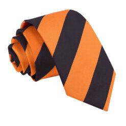 Orange & Black Striped Slim Tie