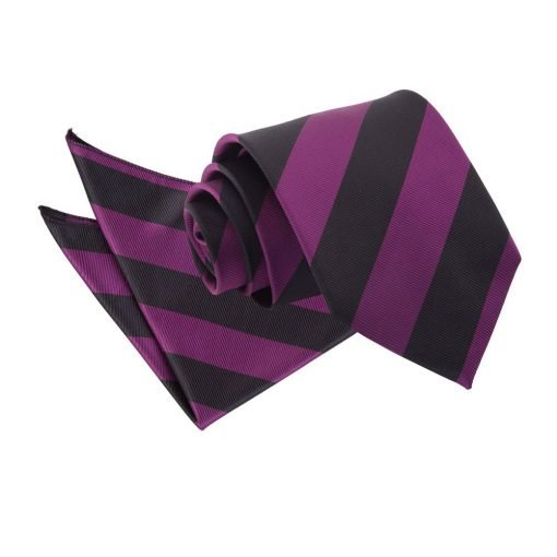 Purple & Black Striped Tie & Pocket Square Set