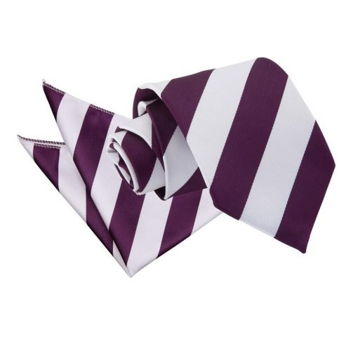 Purple & White Striped Tie & Pocket Square Set