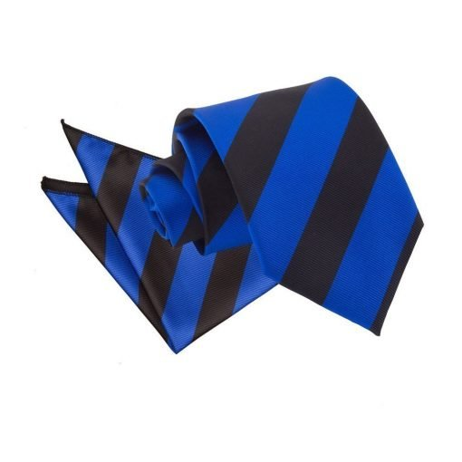 Royal Blue & Black Striped Tie & Pocket Square Set