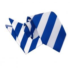 Royal Blue & White Striped Tie & Pocket Square Set