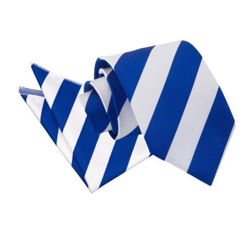 Royal Blue & White Striped Tie & Pocket Square Set