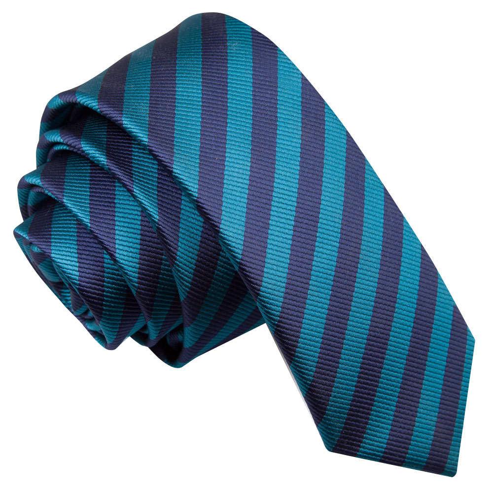 Thin Stripe Navy Blue & Teal Skinny Tie