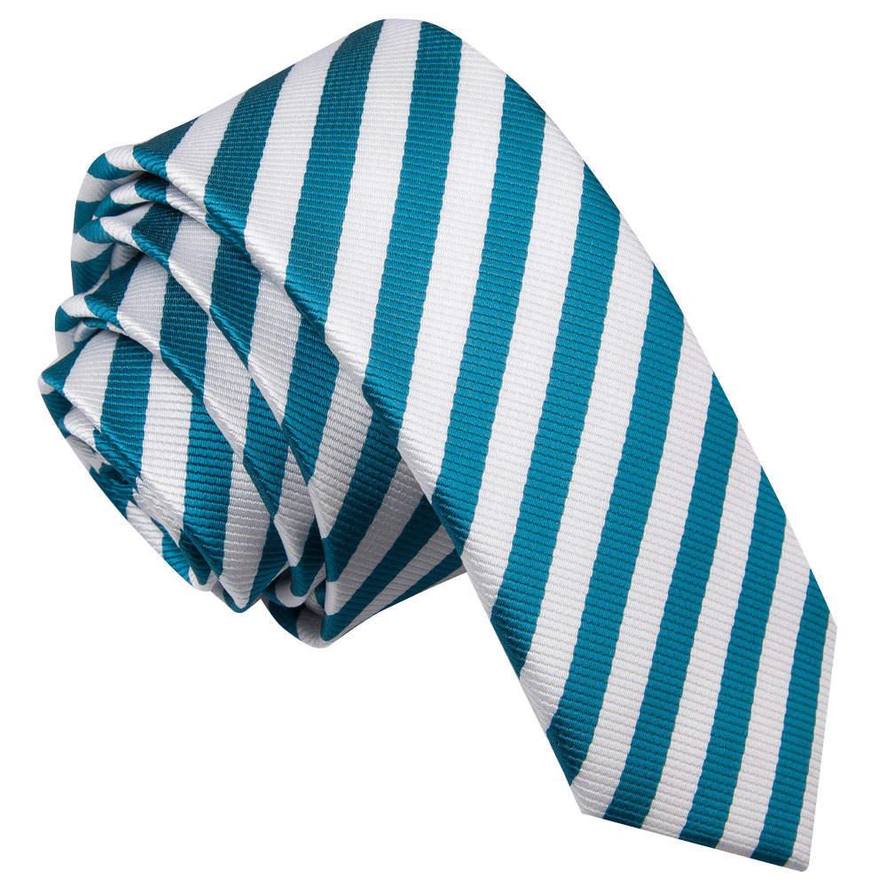 Thin Stripe White & Teal Skinny Tie
