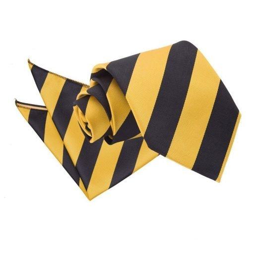 Yellow & Black Striped Tie & Pocket Square Set