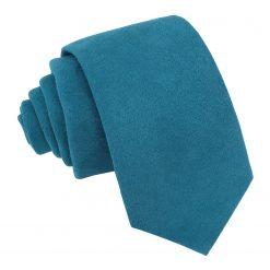 Cerulean Blue Suede Slim Tie
