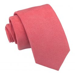 French Rose Suede Slim Tie