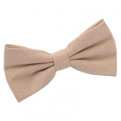 Tan Suede Pre-Tied Bow Tie
