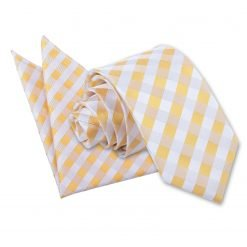 Sunflower Gold Gingham Check Tie & Pocket Square Set