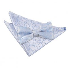 Baby Blue Swirl Bow Tie & Pocket Square Set