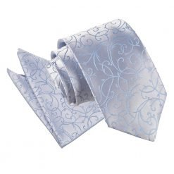 Baby Blue Swirl Tie & Pocket Square Set