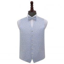 Baby Blue Swirl Wedding Waistcoat & Bow Tie Set